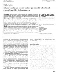 Efficacy in allergen control and air permeability of different materials used for bed encasement foto eerste pagina